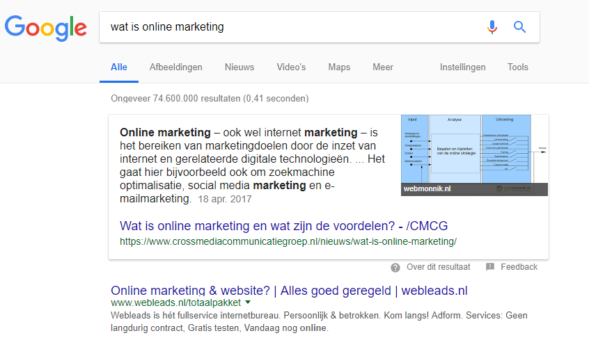 Voorbeeld featured snippet in Google